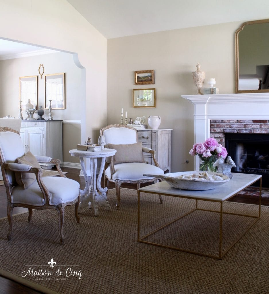 summer decorating ideas gorgeous country living room neutral chairs pink peonies