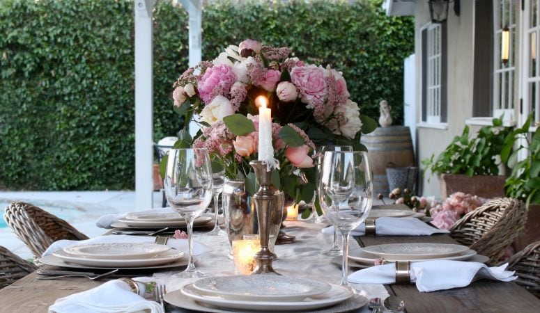Romantic Summer Table Setting with Pink Peonies & Roses