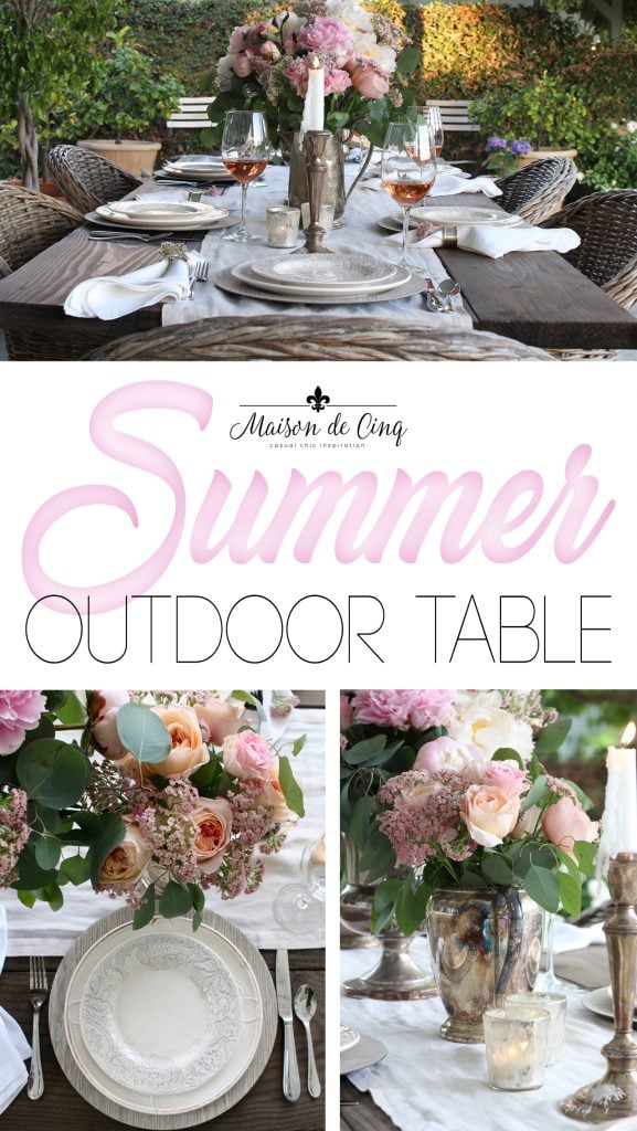 romantic summer table setting on maison de cinq featuring pink peonies