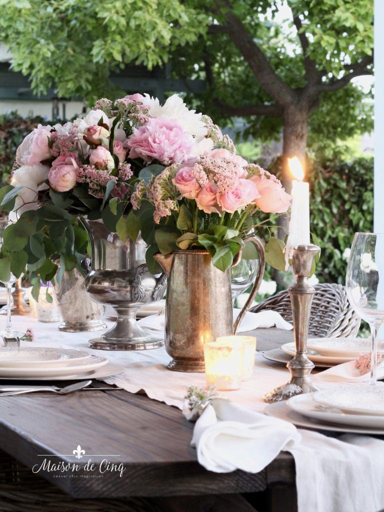 gorgeous romantic summer table setting pink peonies and roses with candles