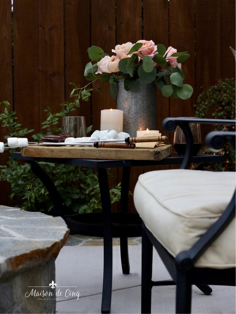 summer outdoor entertaining roses s'mores on the patio