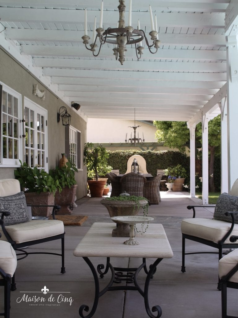 patio outdoor living backyard design french country inspired