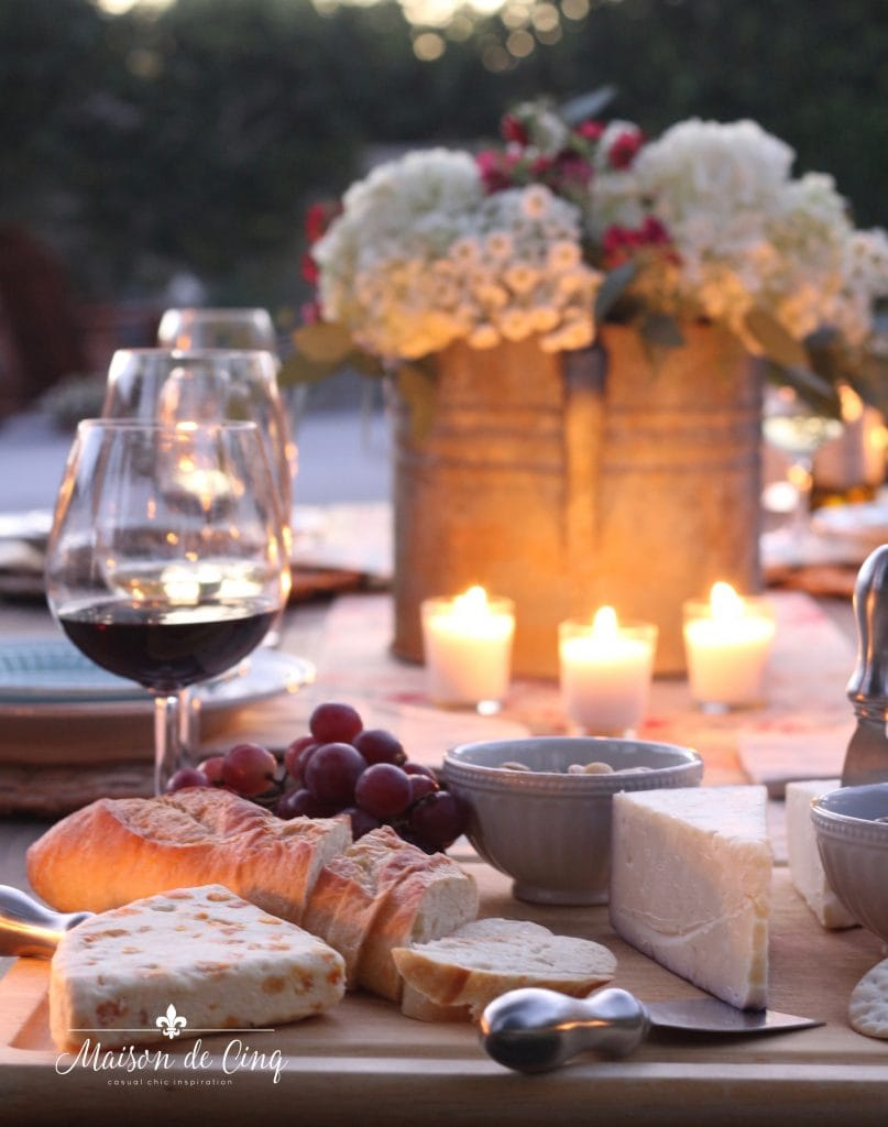 wine and cheese party candles flowers summer tablescape
