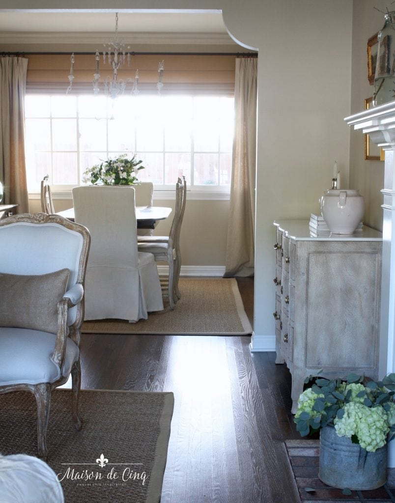 mixing dining chairs to add character and interest to the dining room French country decor