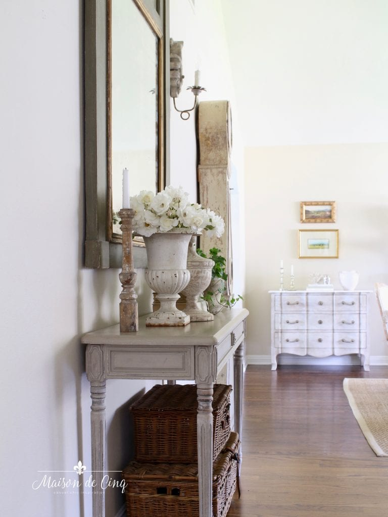 gorgeous French country entry way with console table and Mora clock