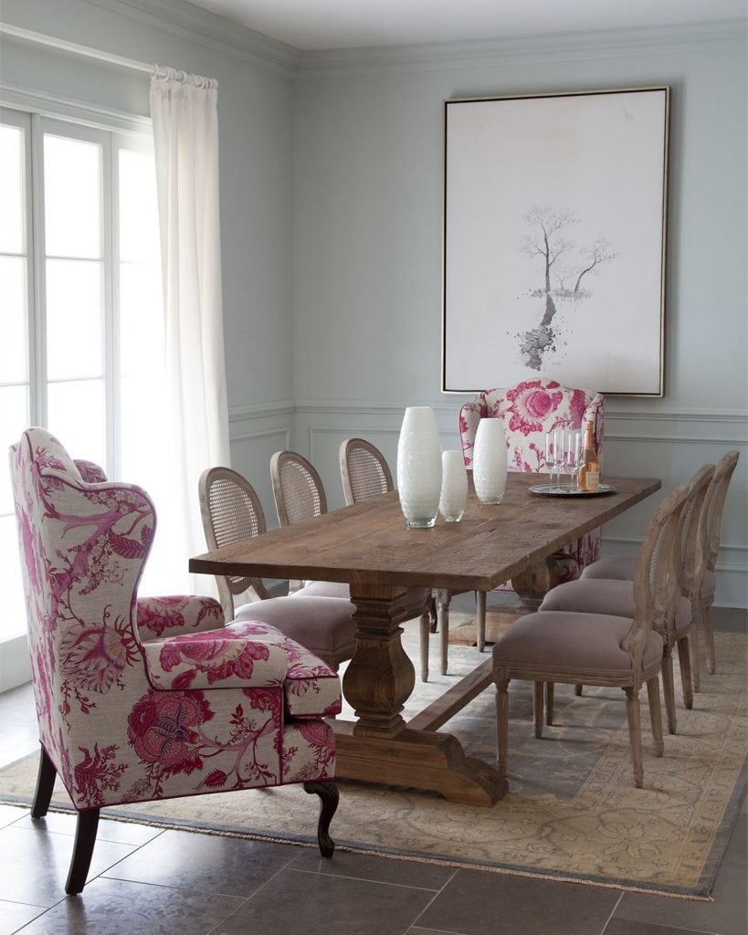 mix of upholstered end chairs with french dining chairs around farmhouse table dining room decor