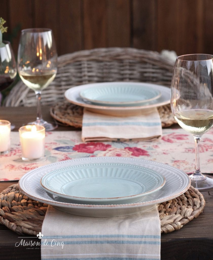 summer tablescape rattan chargers floral runner