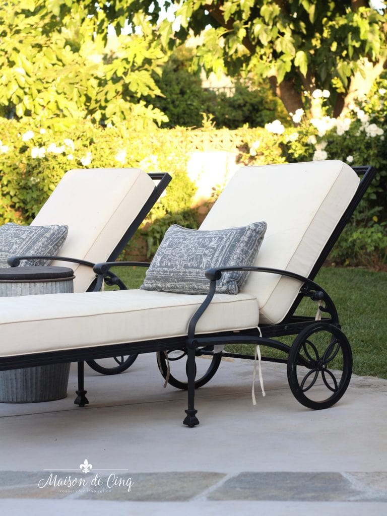 chaise lounges french country style pool and patio reveal