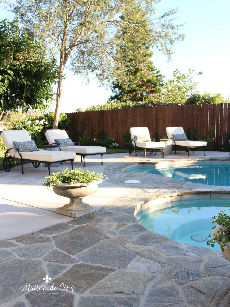 pool renovation flagstone trim and coping lounge chairs