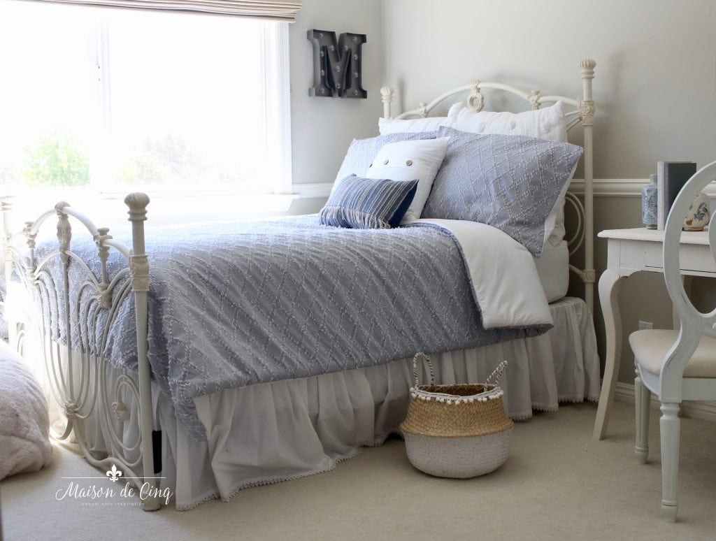 coastal teen bedroom blue chambray comforter white iron bed adorable teen room