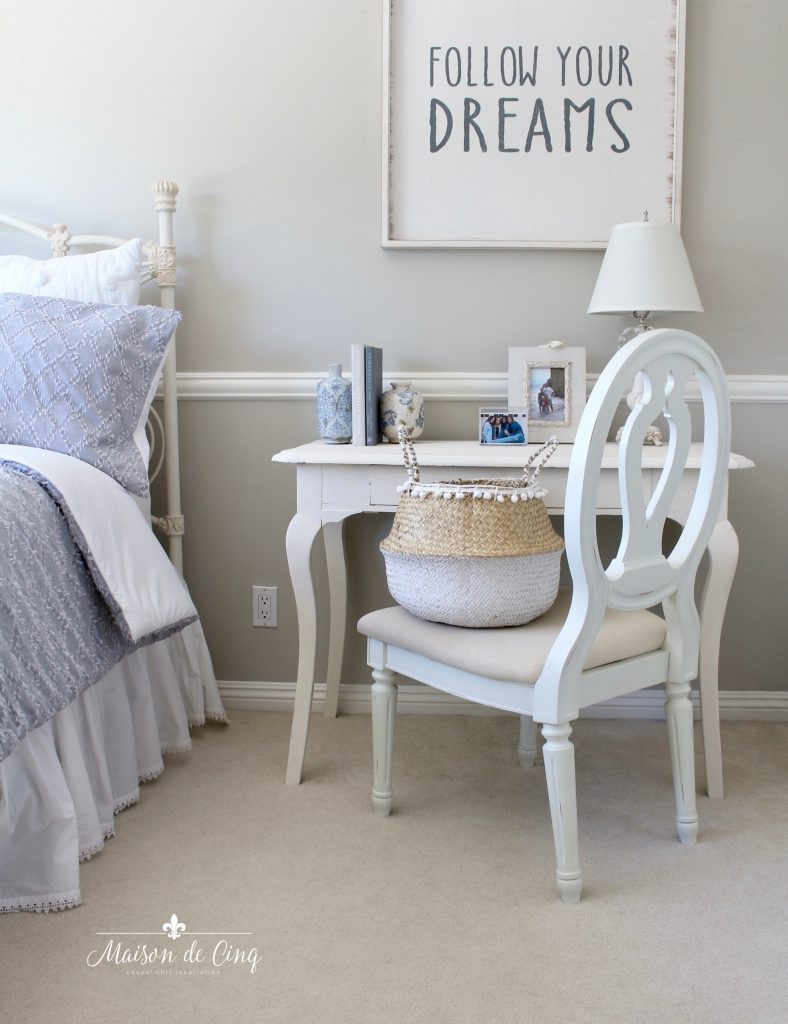 coastal teen bedroom refresh with blue bedding white furniture teen room details