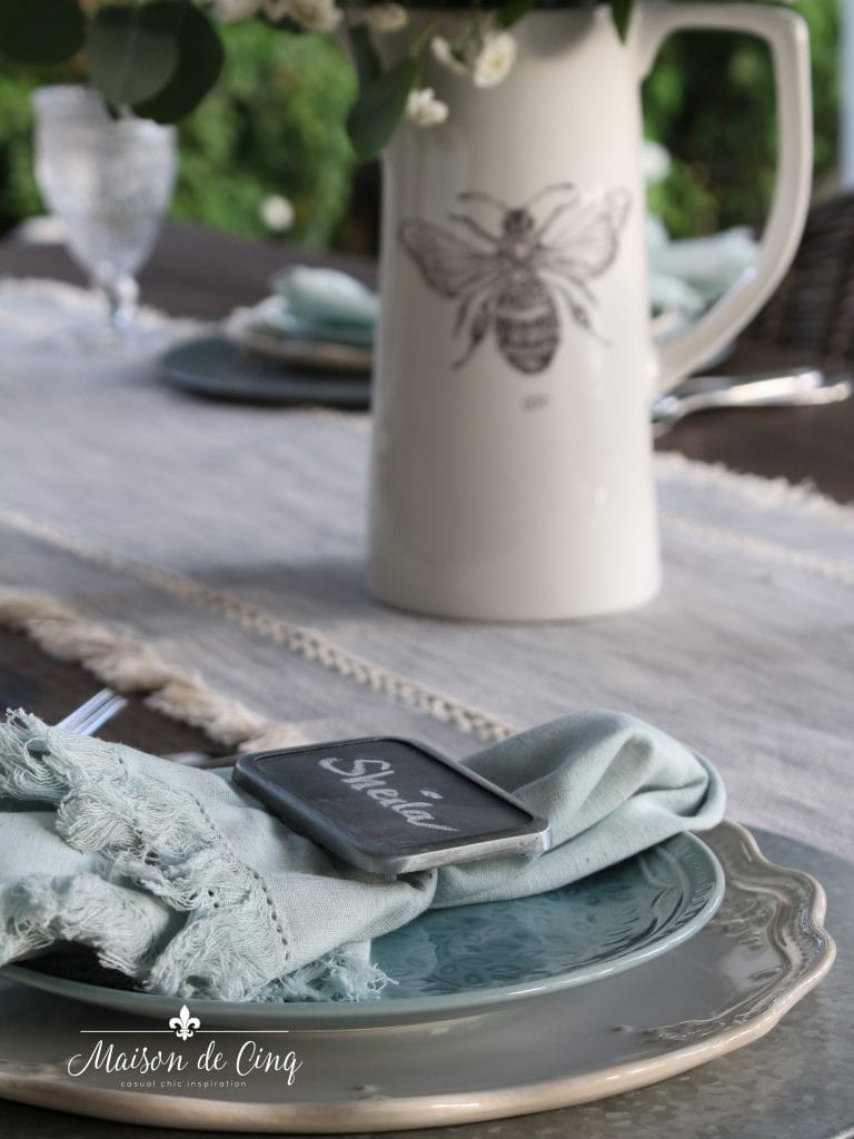 simple summer table with blue napkins and bee pitcher farmhouse style decor