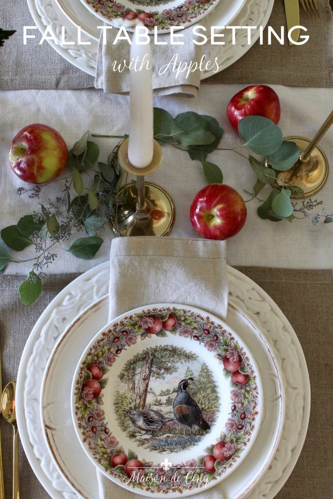 gorgeous fall table setting with apples and eucalyptus