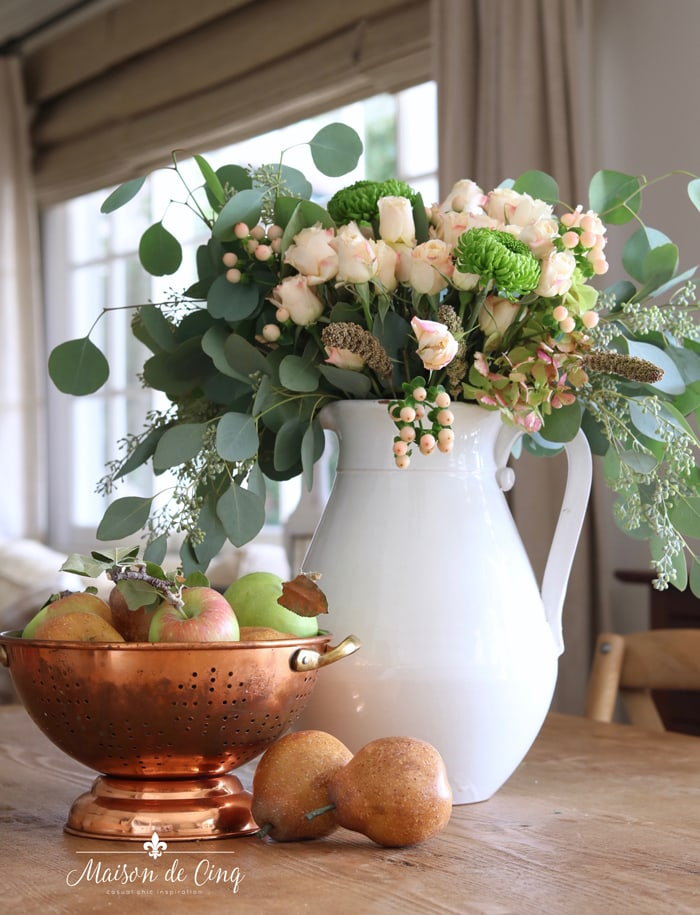 blush roses pears and copper subtle fall decorating in french country room