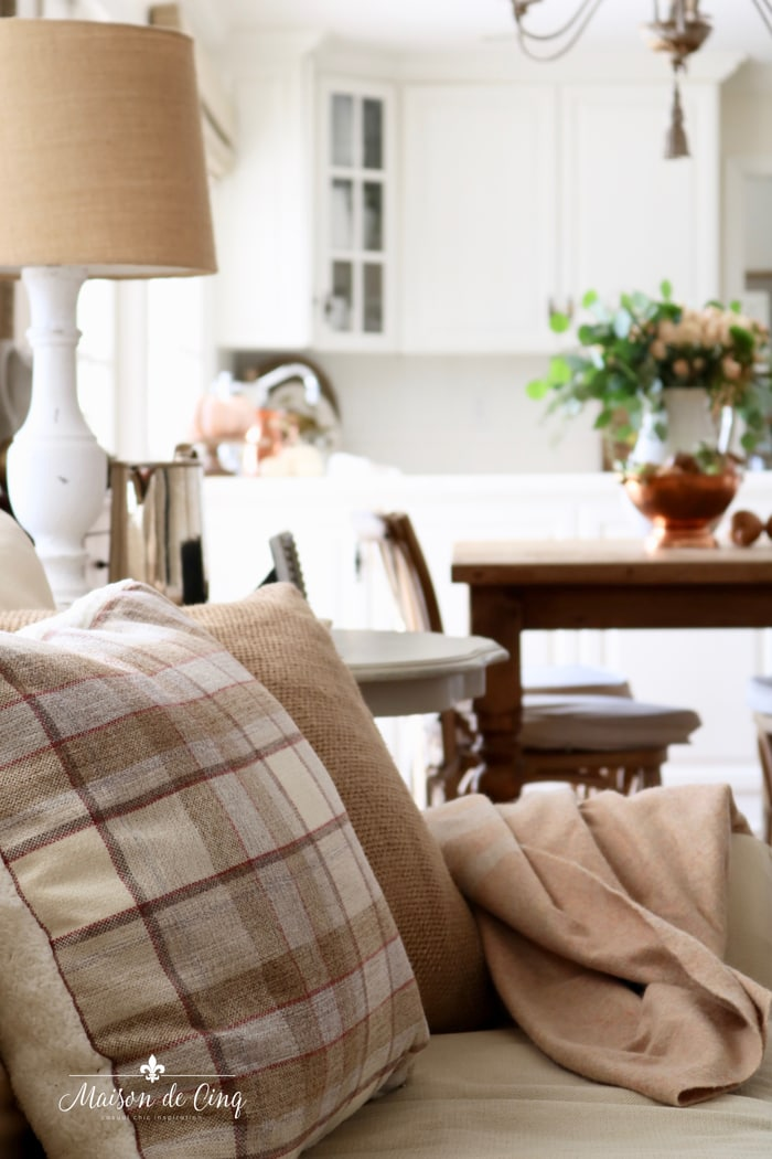 family room fall decorating with plaid pillows french country room