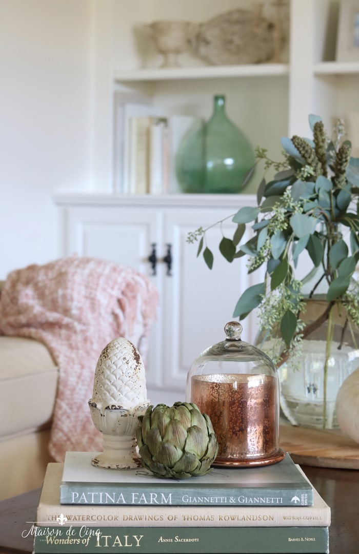 fall decor in the family room copper and subtle blush and green accents gorgeous