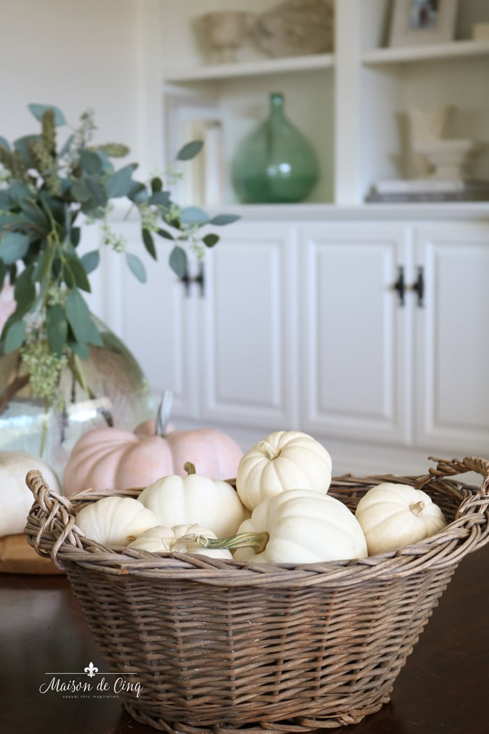 white pumpkins in basket fall autumn decor