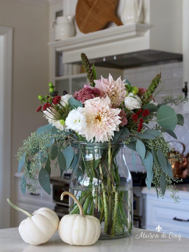 fall kitchen decor in white farmhouse kitchen gorgeous fall flowers white pumpkins