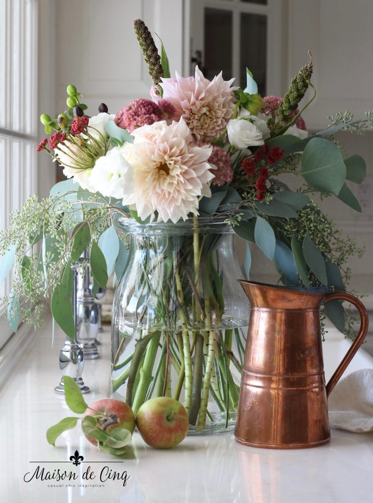 gorgeous fall flowers with copper pitcher and apples