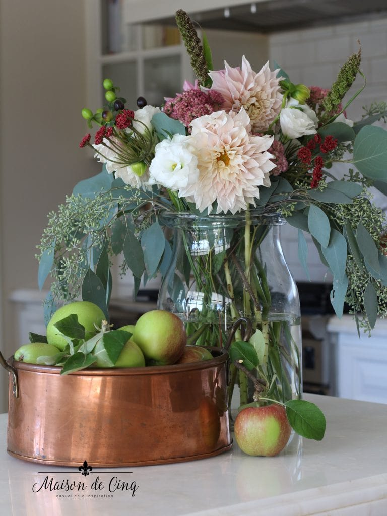 fall flowers with apples and copper pan gorgeous fall decor vignette white farmhouse kitchen