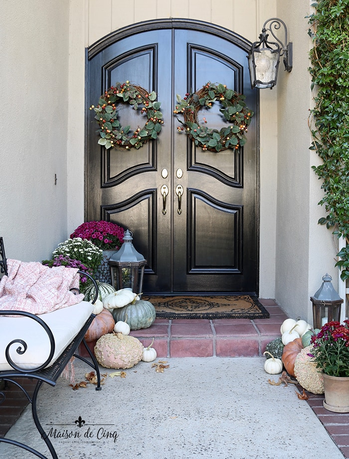 fall porch decor wreaths bench pumpkins and mums with french country doors