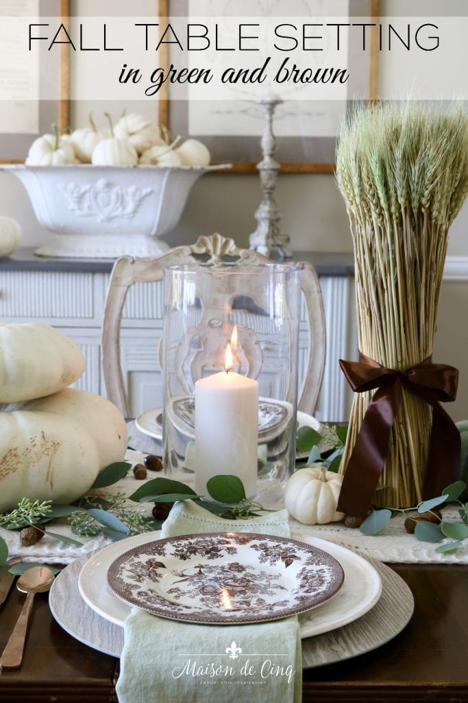 earthy and warm fall table setting autumn tablescape ideas green and brown