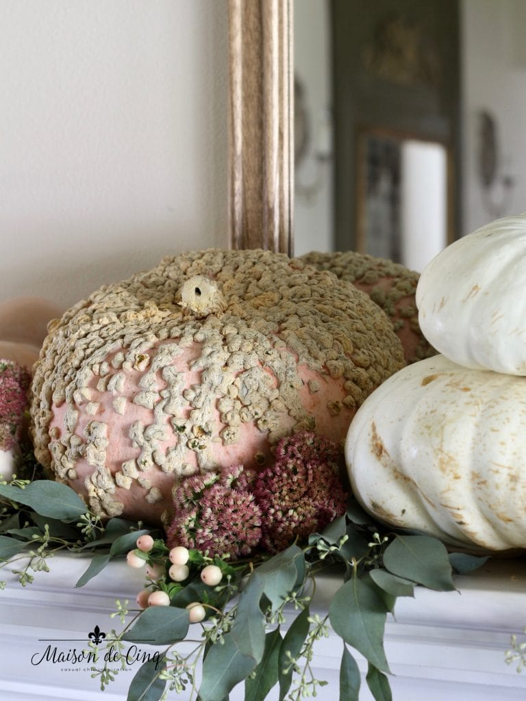 pink pumpkin with pink flowers mantelscape fall and autumn decor