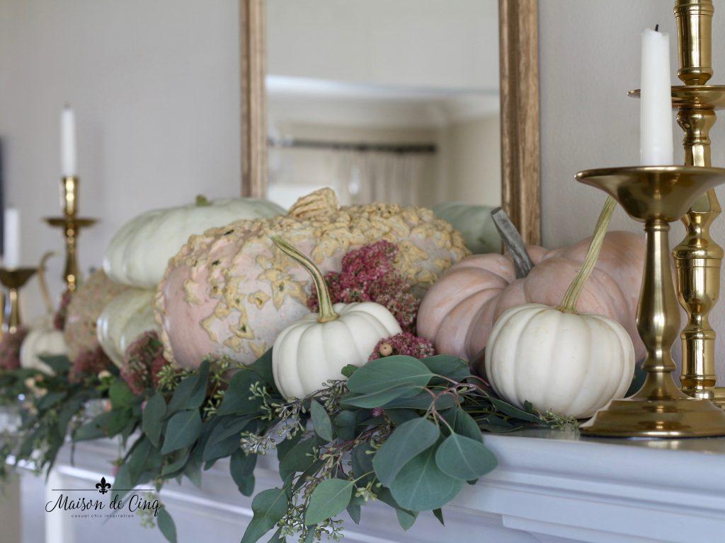 pretty pumpkins in fall mantelscape decorating ideas