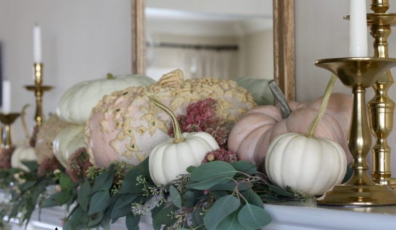 Romantic Fall Mantel in Shades of Blush & Brass