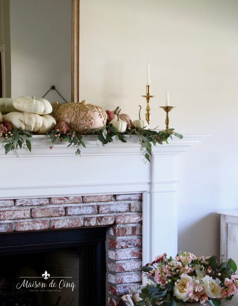 romantic fall mantel decorating with brass and blush