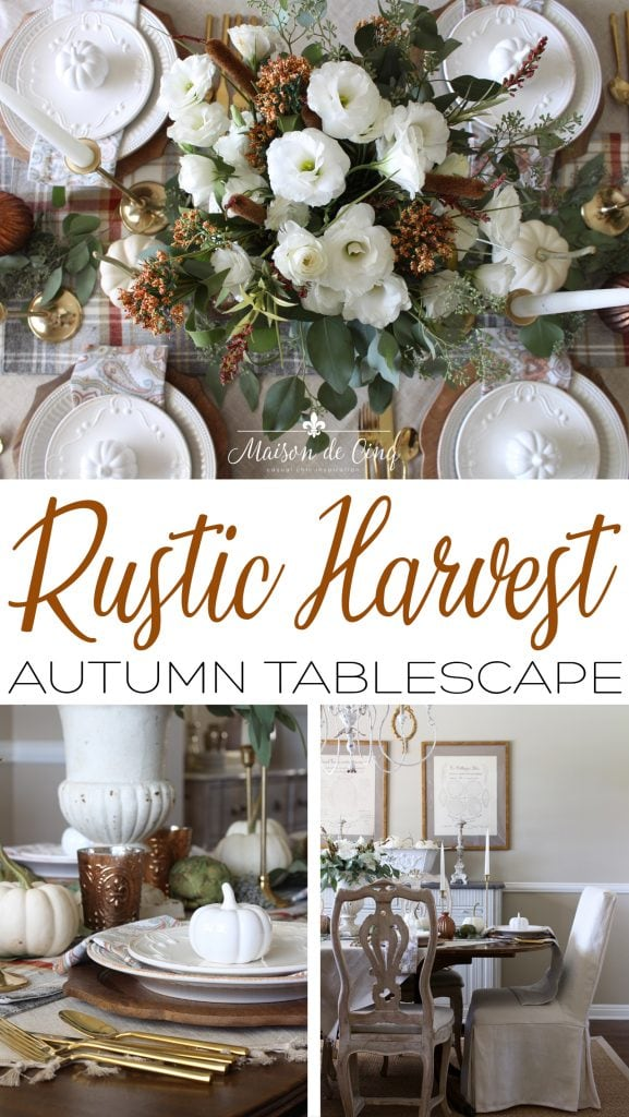 rustic harvest autumn tablescape on Maison de Cinq