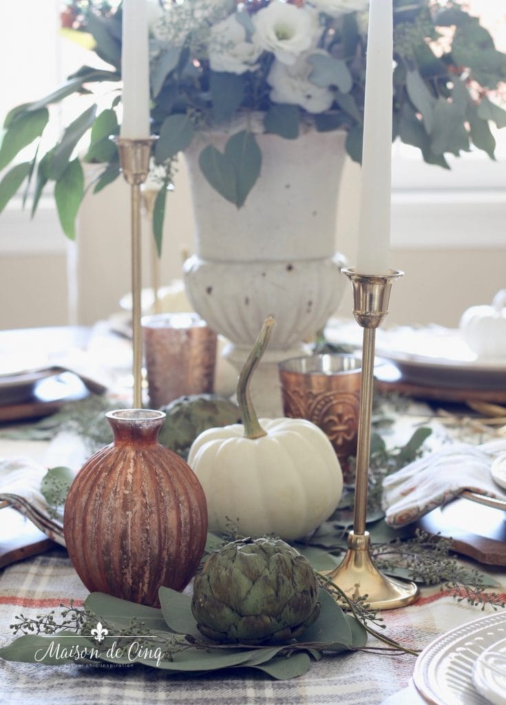 french urn with white flowers pumpkins and copper votives gorgeous fall table