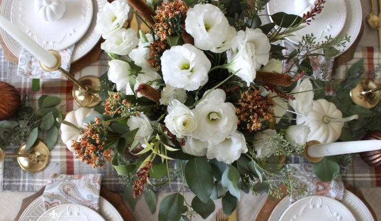 Rustic Harvest Autumn Tablescape with Touches of Gold & Copper