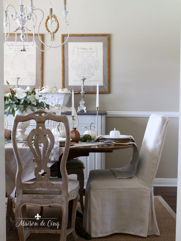french country dining room fall or thanksgiving table setting entertaining ideas