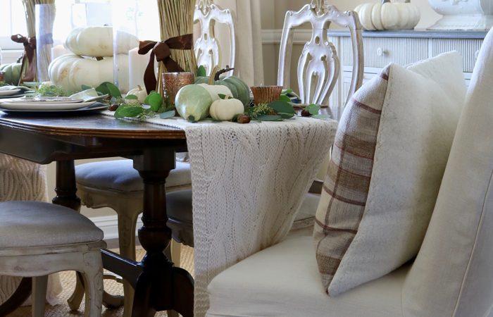 Earthy & Warm Fall Table Setting in Green & Brown