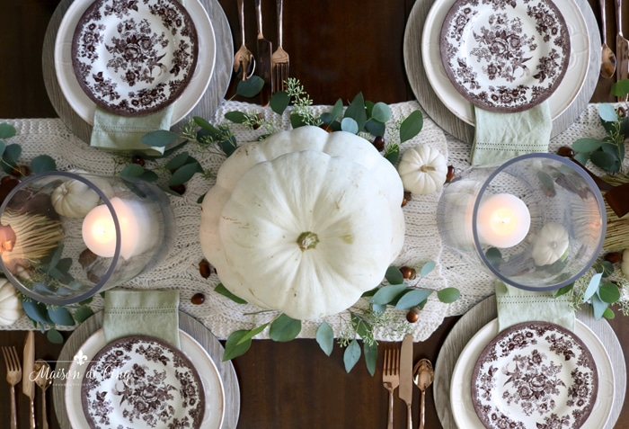 stunning fall table setting with white pumpkins brown transferware plates and eucalyptus