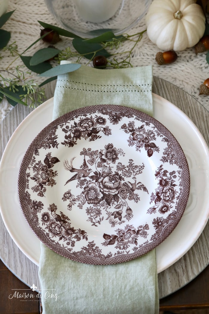 brown transferware plate wood chargers eucalyptus fall autumn table