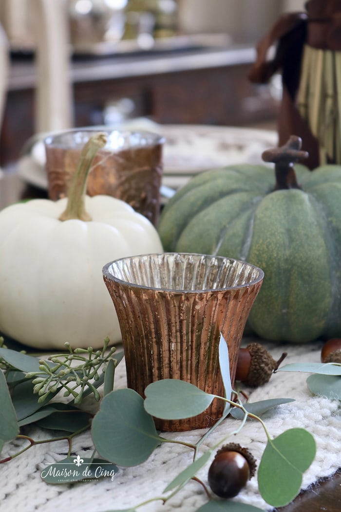 copper votive eucalyptus pumpkins fall autumn table setting