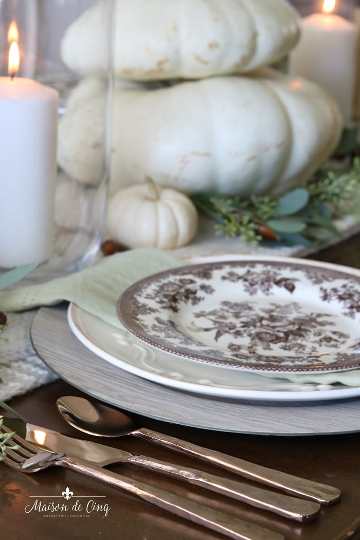 rose gold copper flatware thanksgiving fall tablescape ideas
