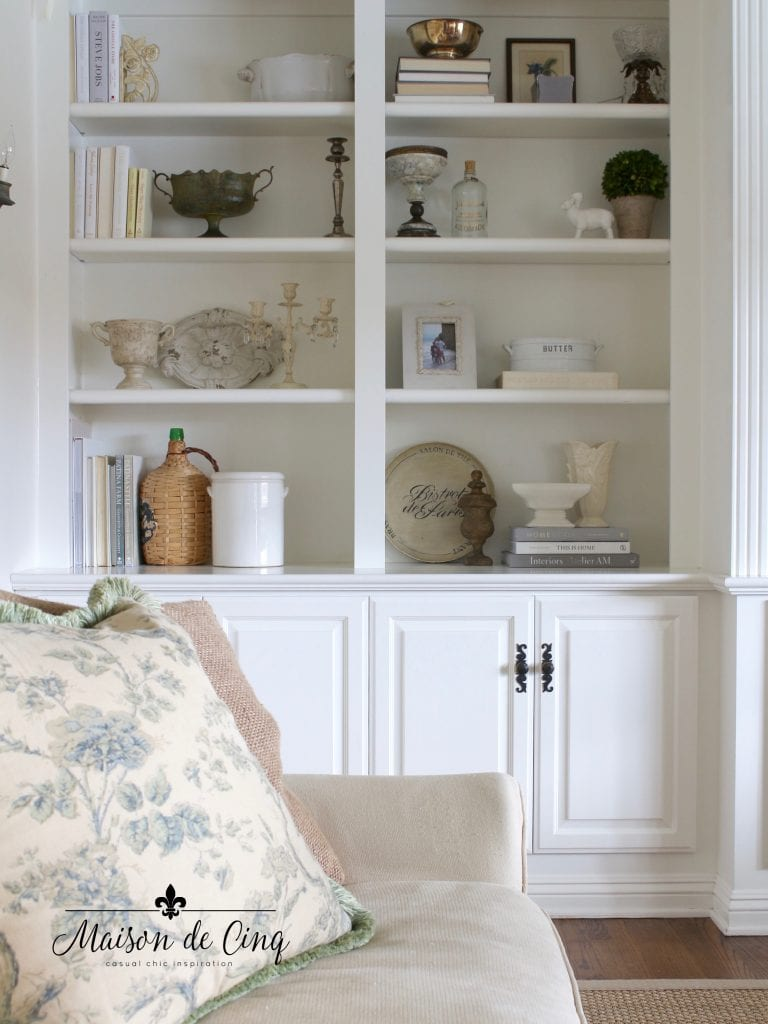 built ins painted Benjamin Moore Cloud White the perfect white paint color