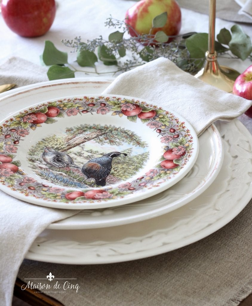 charming transferware plates with apples florals and quail sur la table