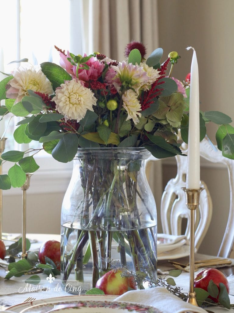 fall table setting pink and white dahlias gorgeous centerpiece