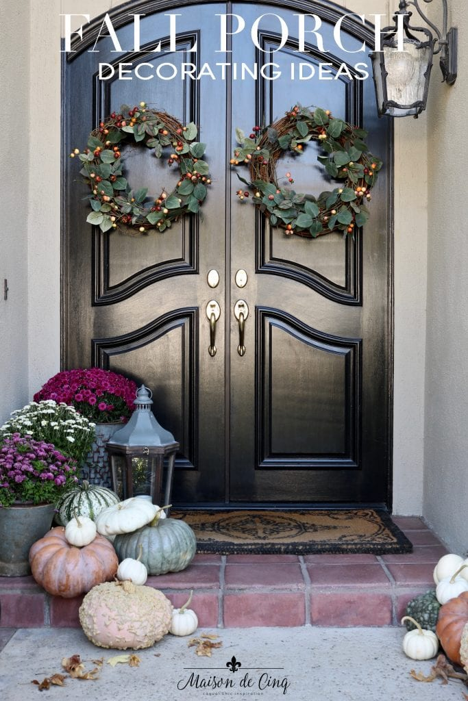 stunning French country fall porch decorating ideas mums pumpkins wreaths on black doors