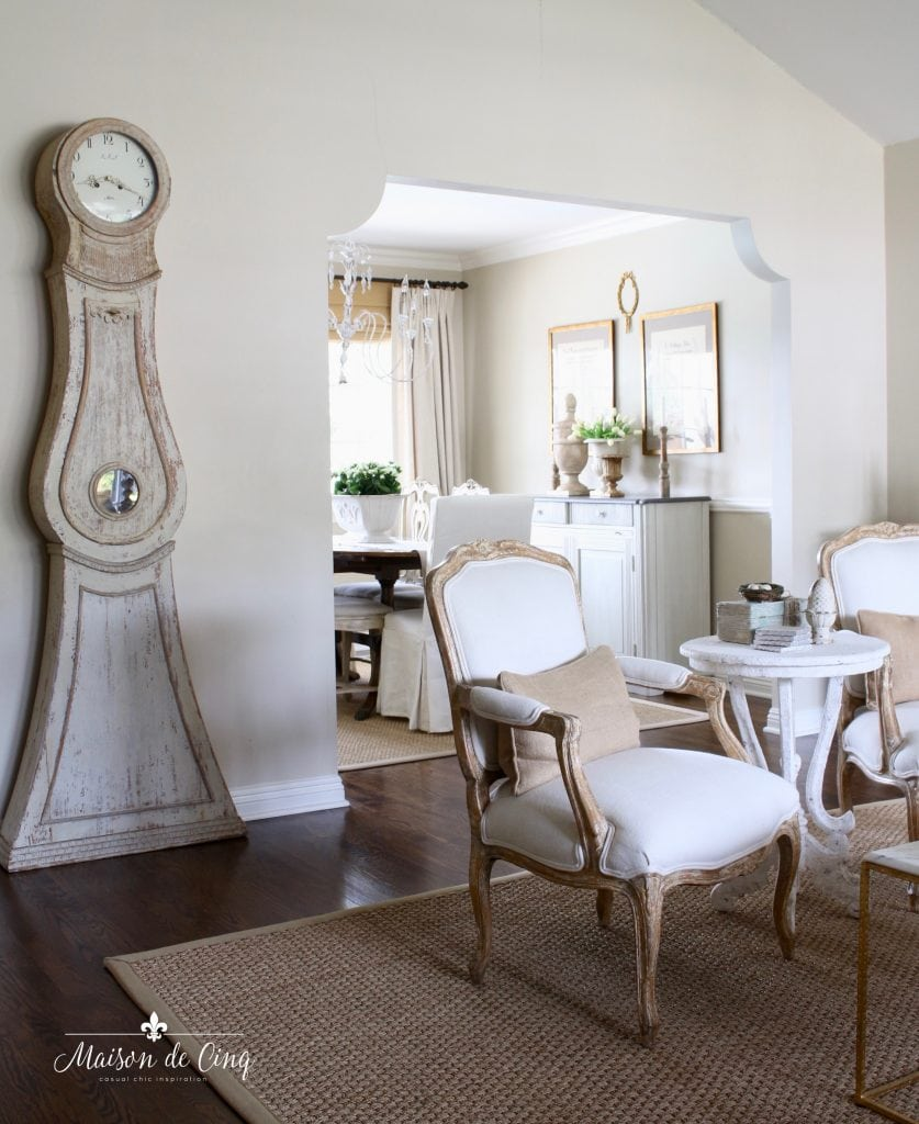 favorite paint colors Benjamin Moore Muslin french country farmhouse living room