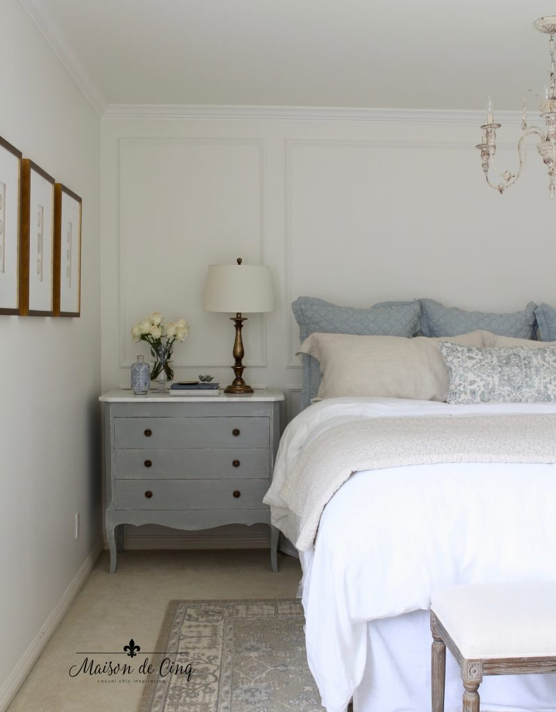 gorgeous french farmhouse master bedroom painted in Benjamin Moore White Dove favorite paint colors
