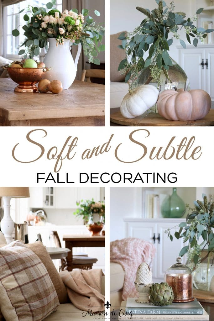 soft and subtle fall decorating ideas pumpkins roses apples pears and copper