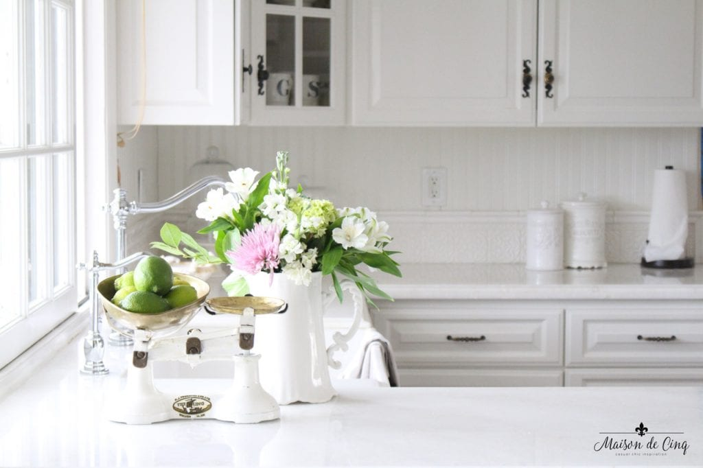 favorite paint colors Cloud White Benjamin Moore farmhouse kitchen
