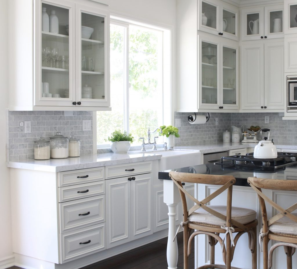favorite paint colors White Dove in gorgeous white farmhouse kitchen