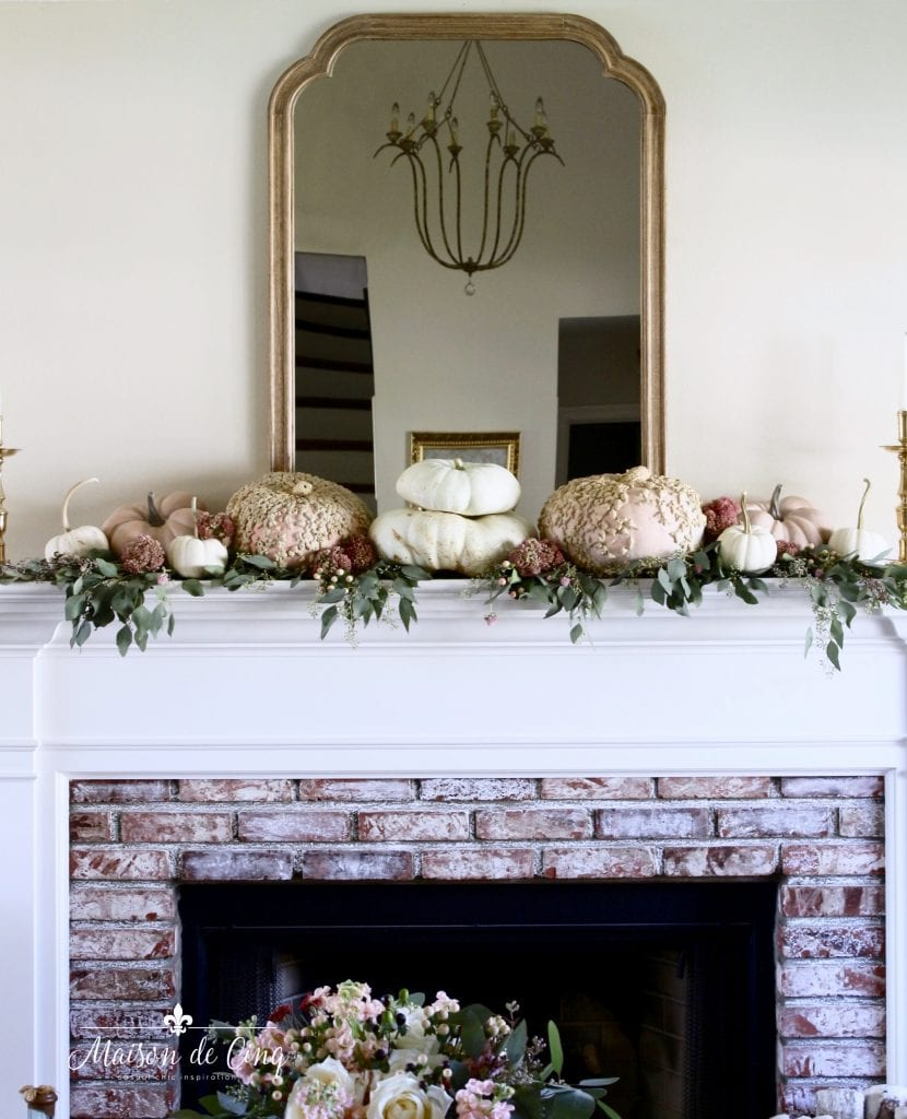 pretty fall mantel decor in french country living room mirror pink and white pumpkins