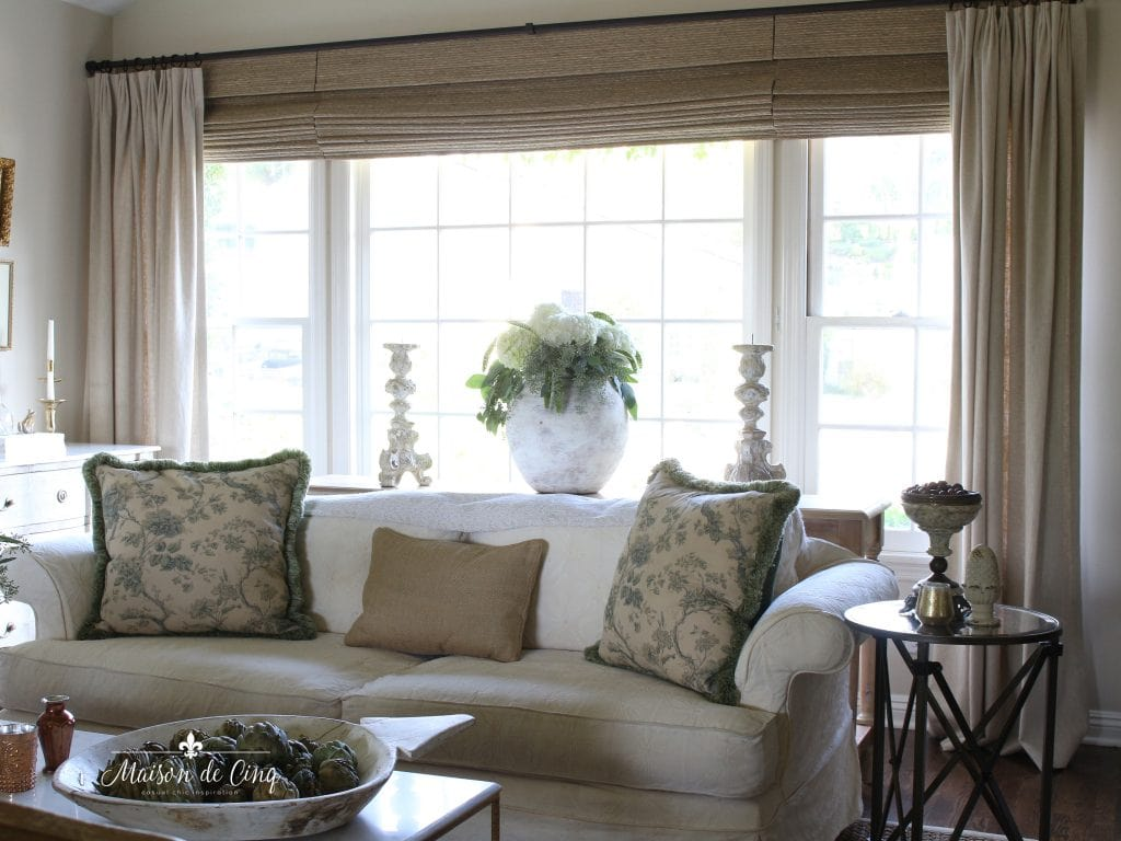 window coverings custom drapes with woven wood shades French country room